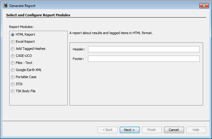 Autopsy User Documentation: Reporting