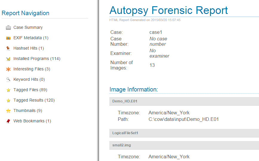 Autopsy User Documentation Reporting