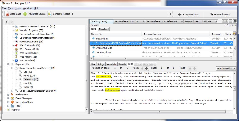 Autopsy User Documentation: Ad Hoc Keyword Search