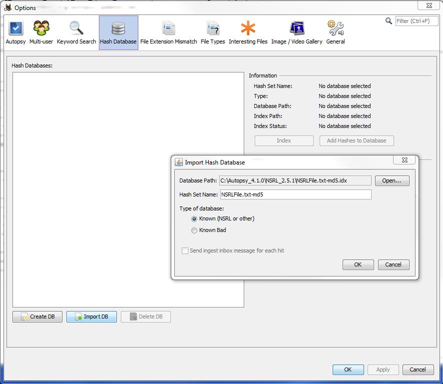Autopsy User Documentation: Hash Database Lookup Module